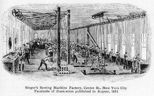 シンガーミシン製造工場、ニューヨーク市中央通り、1853年8月。