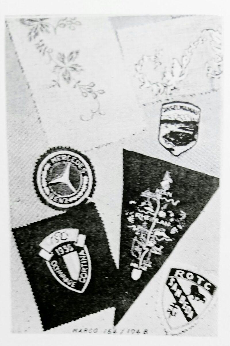 MARCO:154/174(4頭の自動刺繍ミシン)の刺繍サンプルのバッジ
