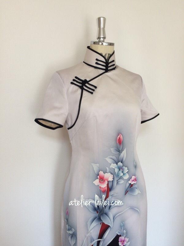 腰 ダーツ 七分袖のアオザイ : チャイナドレス 着物リメイク : アトリエ・レイレイ, 2016年