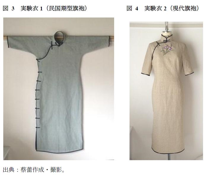 平肩連袖のチャイナドレスと斜肩接袖のチャイナドレスが1対ずつ並んで対比されています。