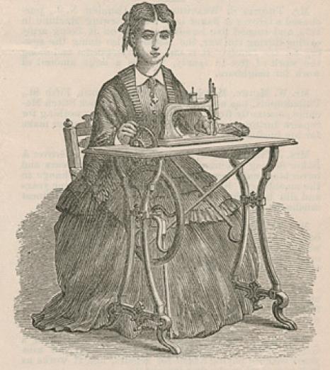 グローバー・アンド・ベーカー社のミシン女性