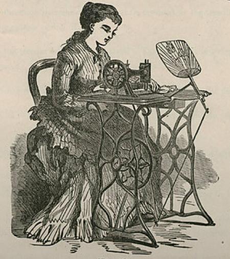 ジェームス・モリソン社のミシン女性