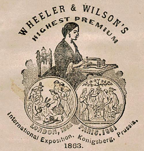 ホイーラー・アンド・ウィルソン社のミシン女性