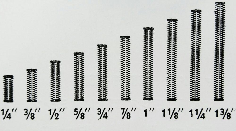 リース・ボタンホール S-2(ボタン穴縢縫ミシン)のボタン穴の長さ見本