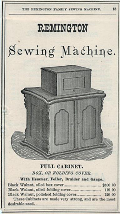 レミントン社のキャビネットつきミシン。1870年頃。